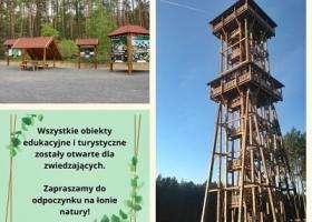 Obiekty turystyczne i edukacyjne Nadleśnictwa Sława Śląska otwarte dla zwiedzających.