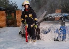 Pożar samochodu w Lipinkach